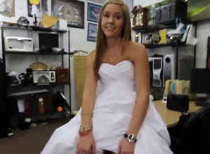 Teen bride in a wedding dress. This..