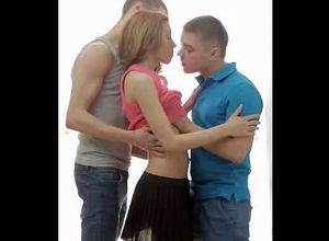 2 fellows smooches teen girl. When..