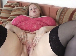 Playful German phat young woman opens..